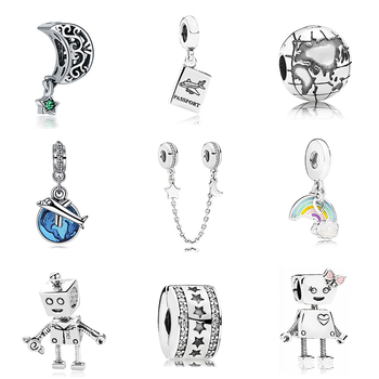 New Original Sliver Plated Bead Holiday Travel Christmas Charm Fit Pandora Bracelet Necklace DIY Women Jewelry