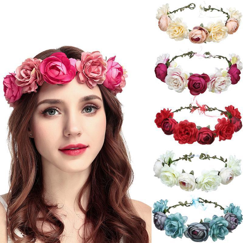 Women Wedding Flower Headband Girls Boho Flowers Headwear Bridesmaid Headbands Hair Accessories Bride Wreath Beach Garland Fairy