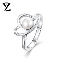 YL Love Heart Women's Rings with 6 MM Big Natural Freshwater Pearl Finger Ring Solid 925 Silver Elegant Wholesale Jewelry