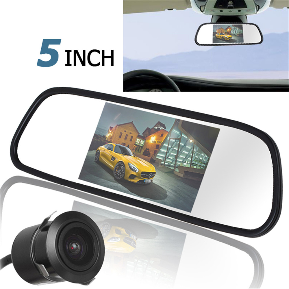 Car Monitor Kits Reversing Camera + Monitor Kits 5 TFT LCD 480x272 Car Rear View Monitor with 420TVL 18mm Lens Reverse Camera image