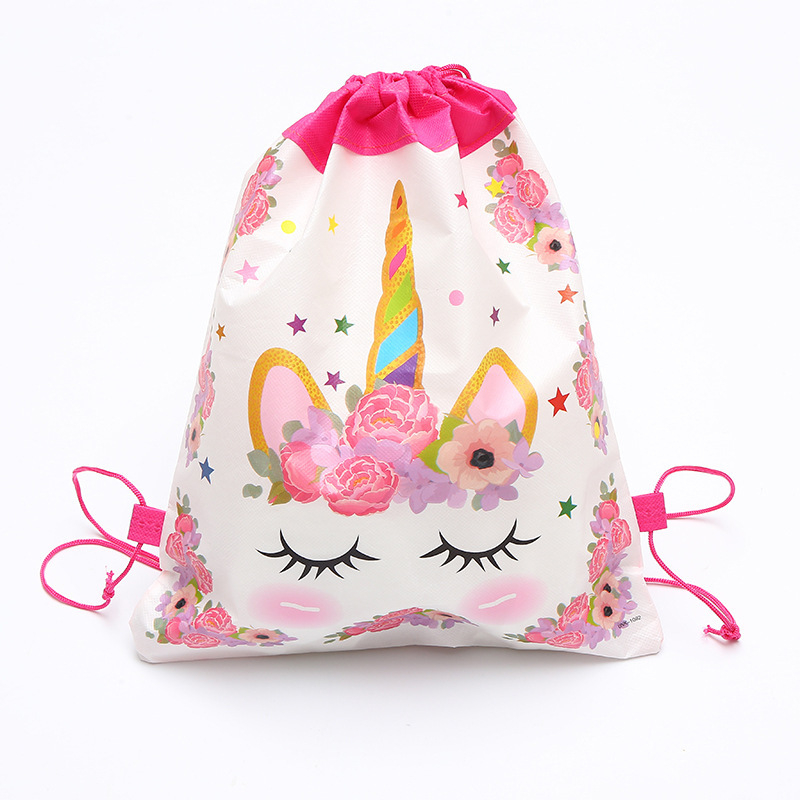 Fashion Baby Girls Unicorn Backpack Printing Travel Drawstring Bag School Girls Backpacks For Kids Birthdays Non-woven Gift Bag