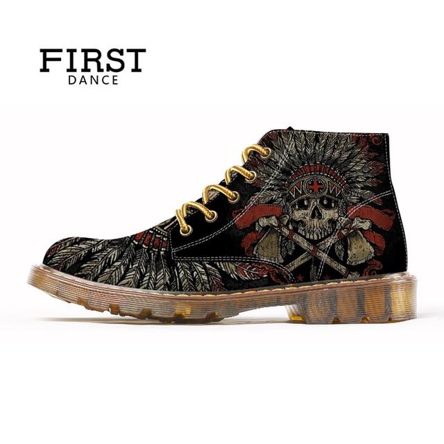 FIRST DANCE 2018 Fashion Mens Skull Shoes For Men Martins Shoes Skeleton Print Black Nice Ankle Shoes Man Oxfords Spring Boot 1