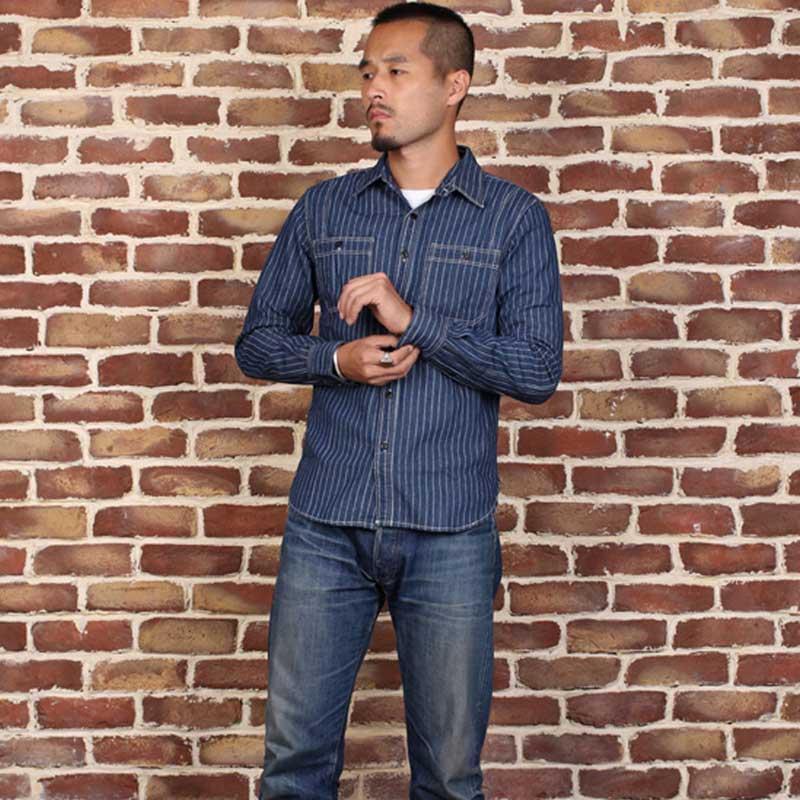 Lire Descriptif! Taille asiatique mans vintage manches longues wabash chemise à rayures