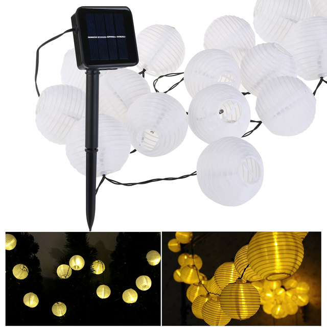 Solar String Lights Outdoor Globe Lights 15.8ft 20 LED Fabric Ball Christmas Lights for Garden Path Party (Warm White)