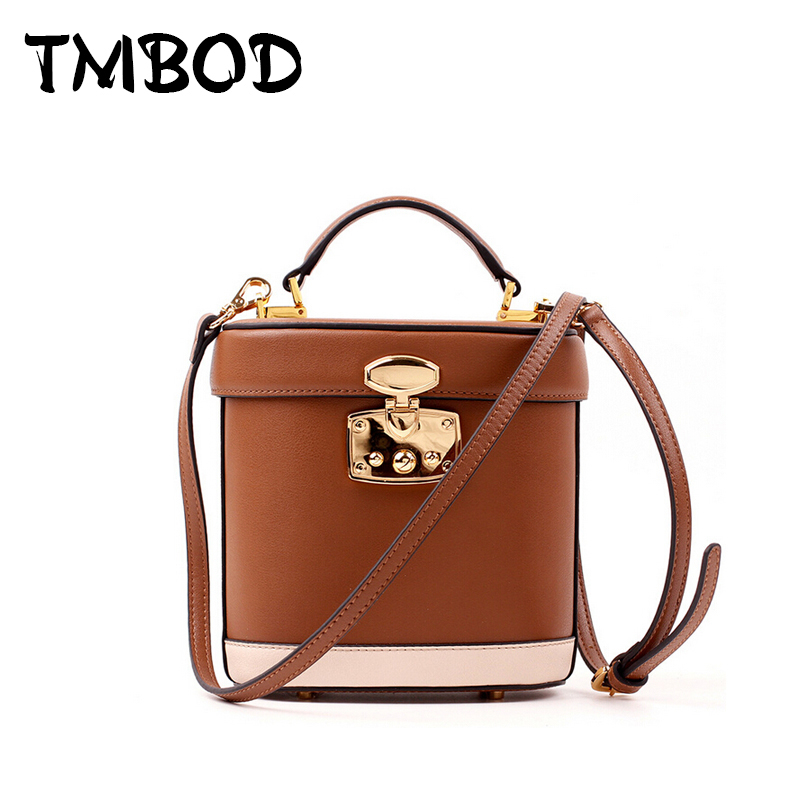 New 2017 Design Patchwork Bucket Bag Small Tote Women Classic Split Leather Handbags Ladies Messenger Bag For Female an450