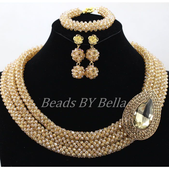 Handmade Indian Jewelry Set Champagne Gold African Costume Wedding Nigerian Bridal Beads Full Free Shipping ABK993 In Sets From