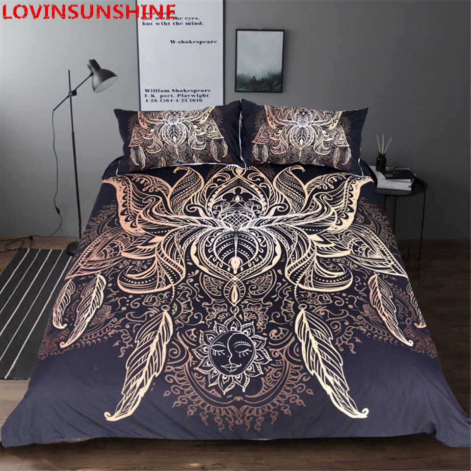 Lotus  Bedding Set King Size Luxury Galaxy Golden Plated  Bohemian Bedclothes 3d Duvet Cover set bedding