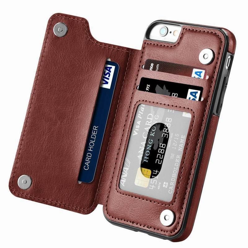 Étui pour téléphone portable en cuir PU pour iPhone 7 8 6 6S s Plus fentes pour cartes support pour téléphone étui pour iPhone X XR XS Max 11 Pro 5 5s SE Coque
