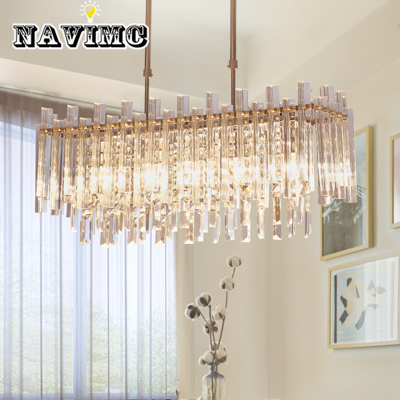 Modern Crystal Chandelier For Dining Room Rectangle Home Decoration LED Lighting Crystal Chandeliers NAVIMC illumination