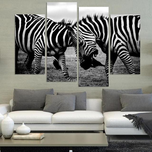 4 Panel NO FRAME LEINWAND NUR Zebra Tier Leinwand Malerei Wandkunst Bilder Fur Wohnzimmer Dekoration Gedruckt