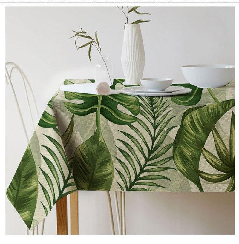 מפת שולחן מלבני שולחן מודפס & צמחים טרופיים בד שולחן בסגנון פסטורלי ספה מצעים כיסוי שולחן אלגנטי Tischdecke