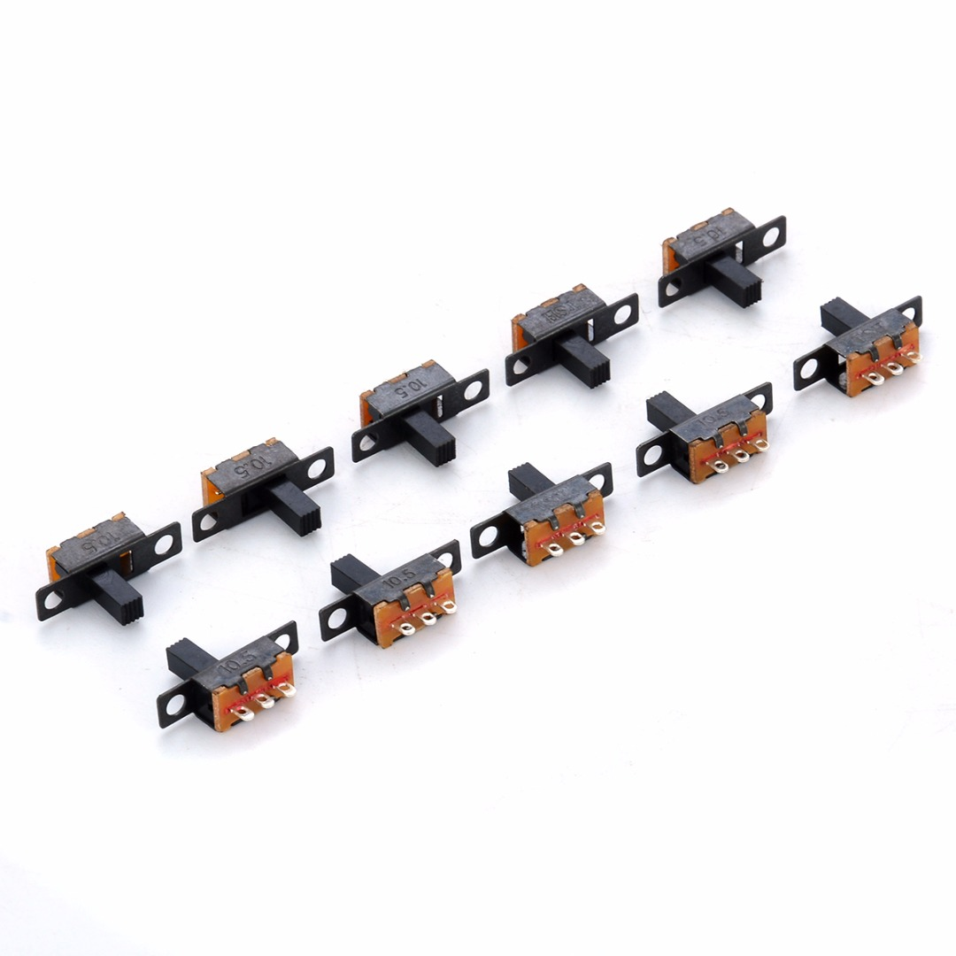 10pcs Mayitr Black SPDT Switch Micro Toggle Switch ON-Off Miniature Slide Switches For DIY Small Power Electronic Projects