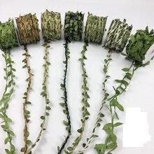 jute  10 m/PCS Green Forest Department rattan hemp rope leaves handmade DIY decorative package pipe material