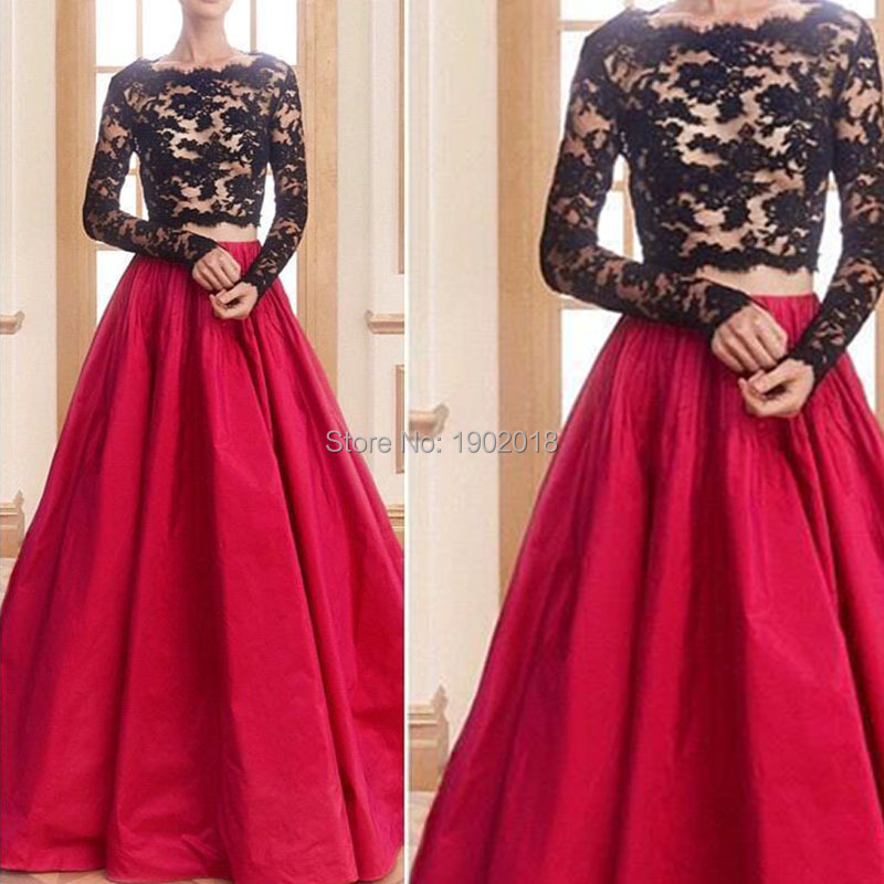 Party Dresses Red Taffeta Skirt Prom With Long Sleeve Gowns New Designer And Black Lace Two Piece