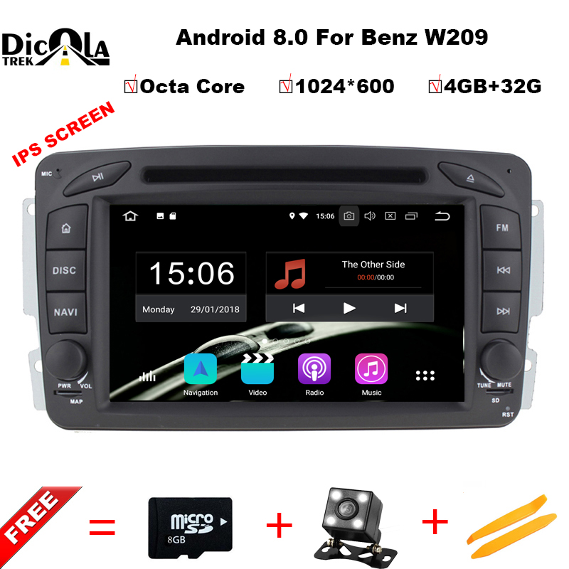где купить 1024*600 Car DVD Player for Mercedes Benz W203 W208 W209 W210 W463 W163 W168 Viano 4G Octa Core 4GB RAM Android 8.0 GPS Radio по лучшей цене