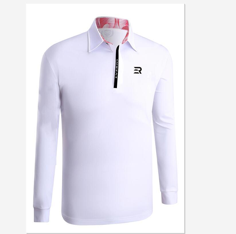 2019 automne hiver hommes à manches longues revers golf T-shirt de haute qualité doux respirant couleur unie sport chemises golf Sportswear