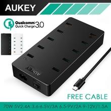 Aukey usb зарядное устройство 70 Вт ес/сша plug 10 usb портов зарядное устройство qc 3.0 быстрое зарядное устройство для xiaomi mi5 iphone 6 7 plus samsung android