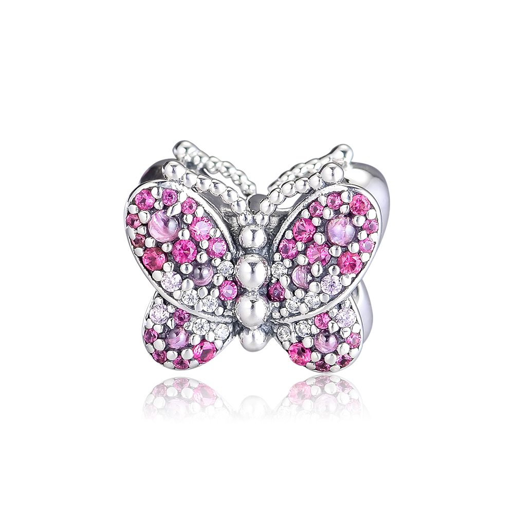 FANDOLA Beads 925 Sterling Silver Dazzling Pink Butterfly Charm Fit Charm Bracelets Bead for Jewelry Making kralen perles boncukFANDOLA Beads 925 Sterling Silver Dazzling Pink Butterfly Charm Fit Charm Bracelets Bead for Jewelry Making kralen perles boncuk
