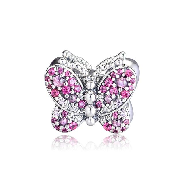 FANDOLA Beads 925 Sterling Silver Dazzling Pink Butterfly Charm Fit Charm Bracelets Bead for Jewelry Making kralen perles boncuk
