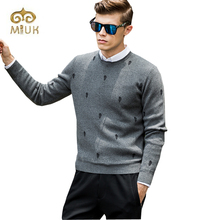 Miuk 2017 New Arrival Cotton Blue Gray O-neck Men Dot Pullovers Casual Sweaters Pull Homme Clothing