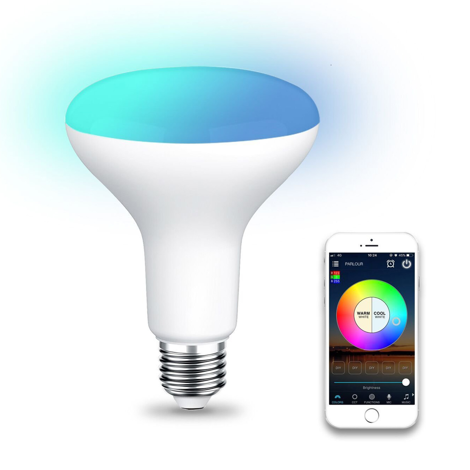 Hot sale WiFi BR30 LED Flood Light Bulb, Tunable White & Color Changing Smart Flood Light Bulb, Compatible with Alexa & Google