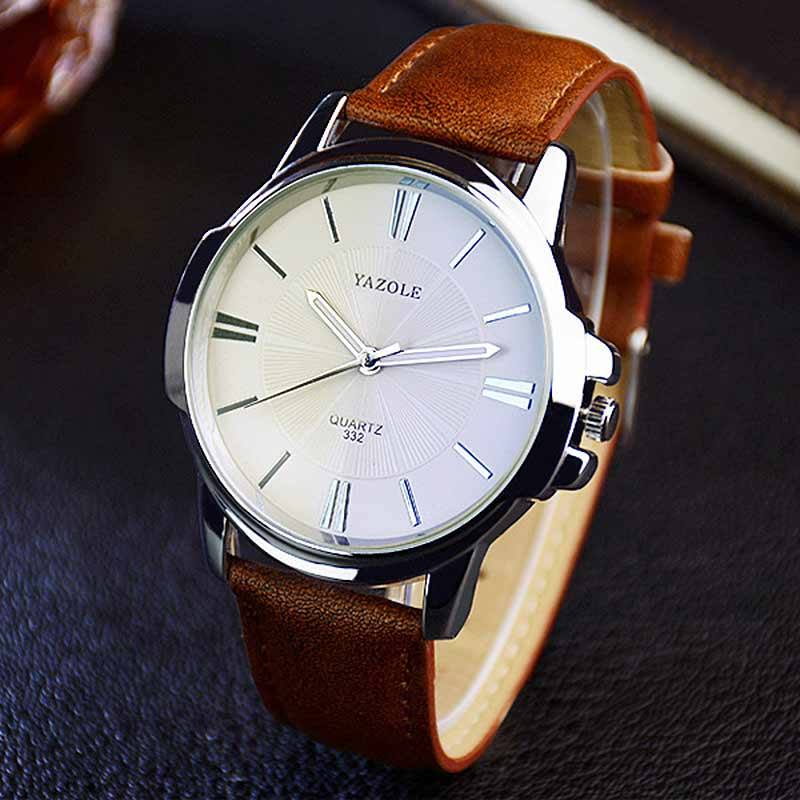 YAZOLE Fashion Luxury Brand Watch 2017 New Man Classic Leather Quartz Watches Male Clock Simple Business Wristwatch TT@88