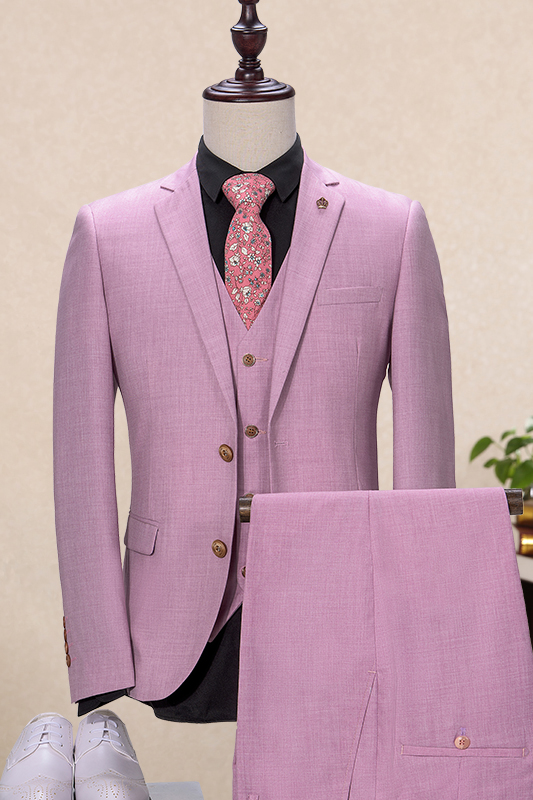 Latest Coat Pant Designs Pink Formal Wedding Suits For Man Custom Slim Fit Bridegroom 3 Pieces Terno Jacket+Vest+Pants 221