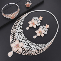 missvikki New Indian Jewellery sets Bridal Jewelry Sets Full Crystal Flowers Pendant Earrings Necklace Adjustable Ring Bangle
