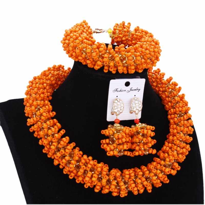 Beads Set Bold Designer Jewelry Sets Orange and Gold Bridal Jewelry Sets Bracelet Earrings And Necklace Fashion Jewelry Dubai