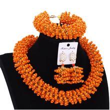 Комплект бисера из оранжевого и золотого браслета серег ожерелья