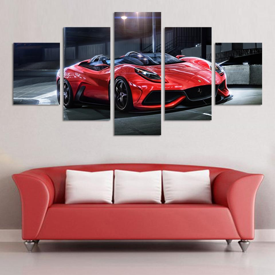 Wall Art Picture 5 Panel Cool Red Reflective Sports Car Large Hd Canvas Print Painting For Living Room Decoration Pictures Painting For Living Room Art Pictureswall Art Picture Aliexpress