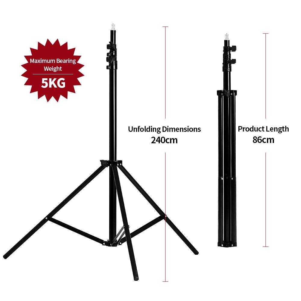 2.4 m/9.2ft 1/4 tête Épaississent pied de projecteur Support Trépied pour Photo Studio Éclairage Softbox Parapluie Flash