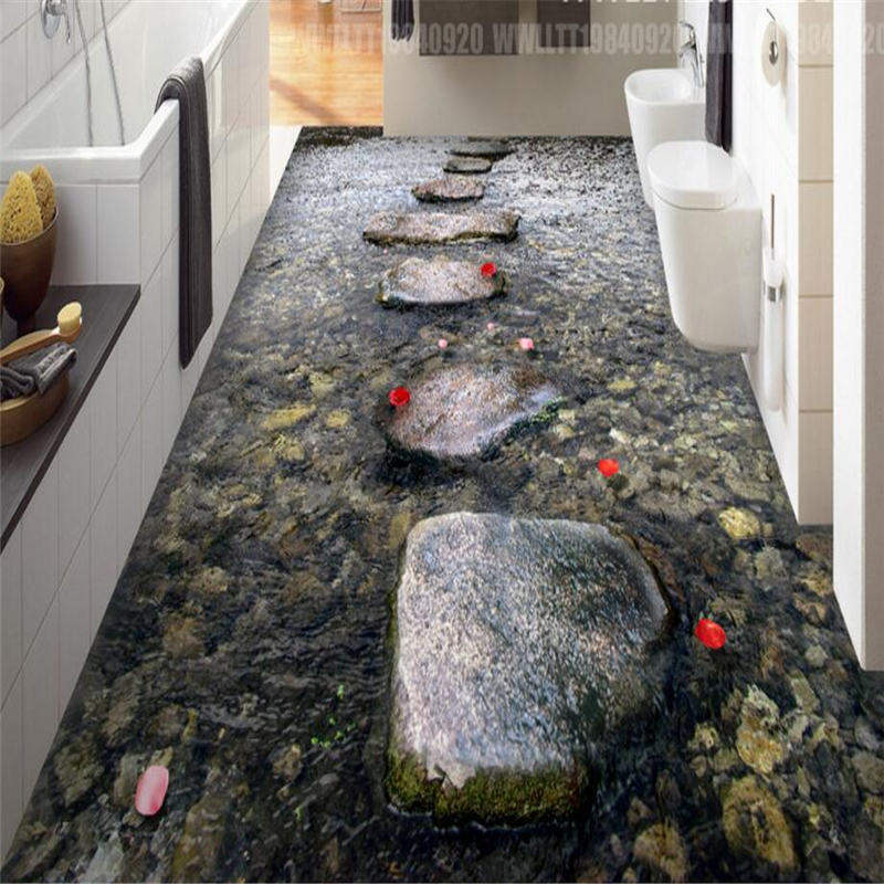 beibehang Stone road stream wall paper sticker 3D floor wallpaper bathroom mural non-slip waterproof self-adhesive PVC painting stream хатанга 3 sport