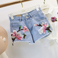 Embroidery Shorts Women 2017 Summer High Waist Denim Shorts Slim Pantalones Cortos Mujer Plus Size Shorts Femme