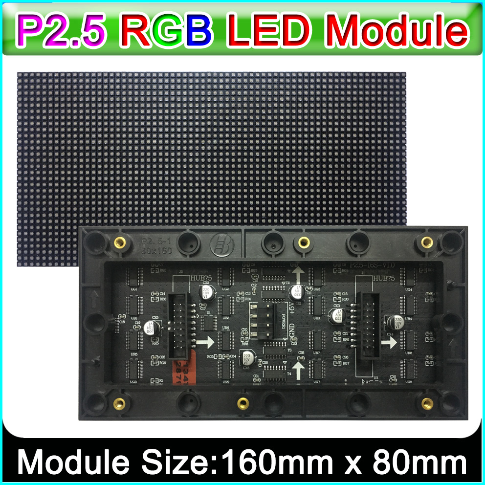 P2.5 Indoor Full Color LED Display Module,160mm X 80mm, 64*32 Pixels,SMD 3 In 1 Rgb P2.5 Led Panel, Compatible With Pin2dmd