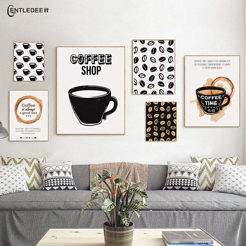 Us 3 31 55 Off Nordic Black Coffee Wall Art Style Painting Modern Canvas Painting Cafe Restaurant Wall Painting Home Decor Poster And Printing In