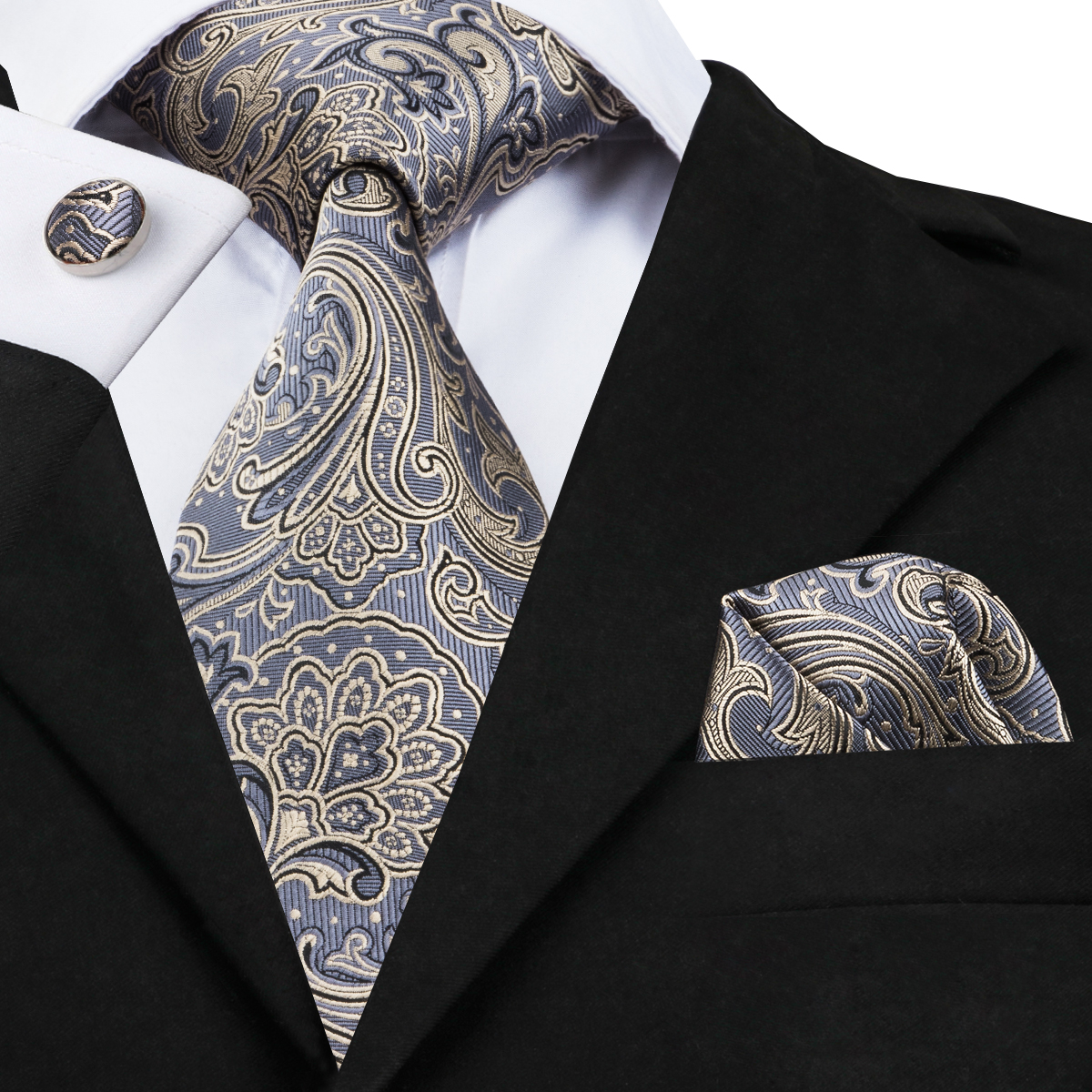 C-1653 Hallo-Binden Corbatas Hombre 2017 Reife Paisley Krawatten für Männer Einstecktuch Taschentuch Krawatte Einstecktuch Manschettenknöpfe 8,5 cm