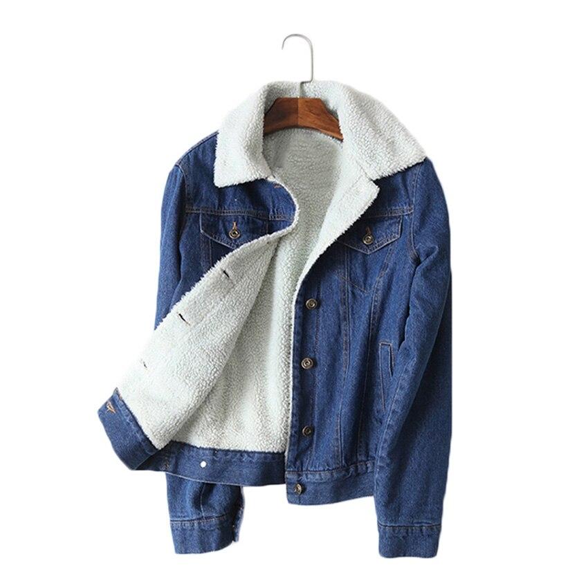 Autumn Winter Velvet Jeans Jacket Women Vintage Oversize Lamb Wool Denim Jackets Long Sleeve Basic Coat Female Outerwear SF462