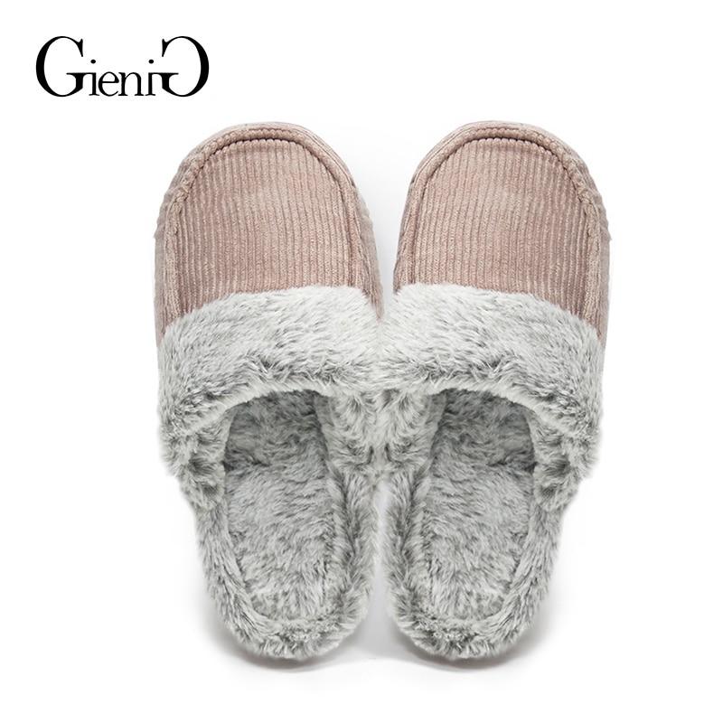 GieniG Women Home Fur Slippers Corduroy Winter Warm Indoor Soft Cotton Flat Shoes Men Bedroom Slippers fghgf shoes men s slippers mak