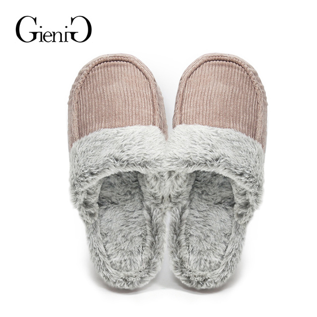 63e7be9e8480f US $17.99 |GieniG Women Home Fur Slippers Corduroy Winter Warm Indoor Soft  Cotton Flat Shoes Men Bedroom Slippers-in Slippers from Shoes on ...