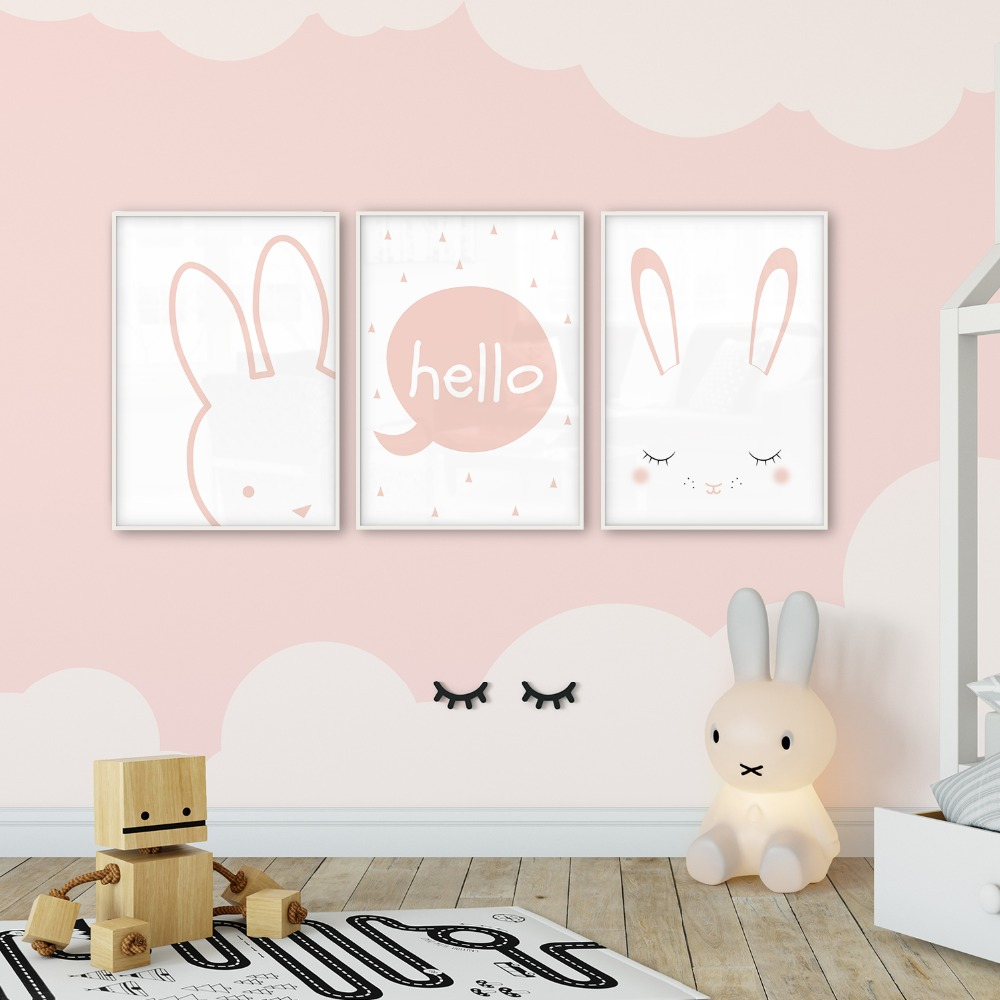 Poster Child Prints Us 3 5 30 Off Pink Rabbit Child Poster Children S Room Posters Baby Wall Art Posters And Prints Picture Canvas Art Photo Nordic Wall Print In