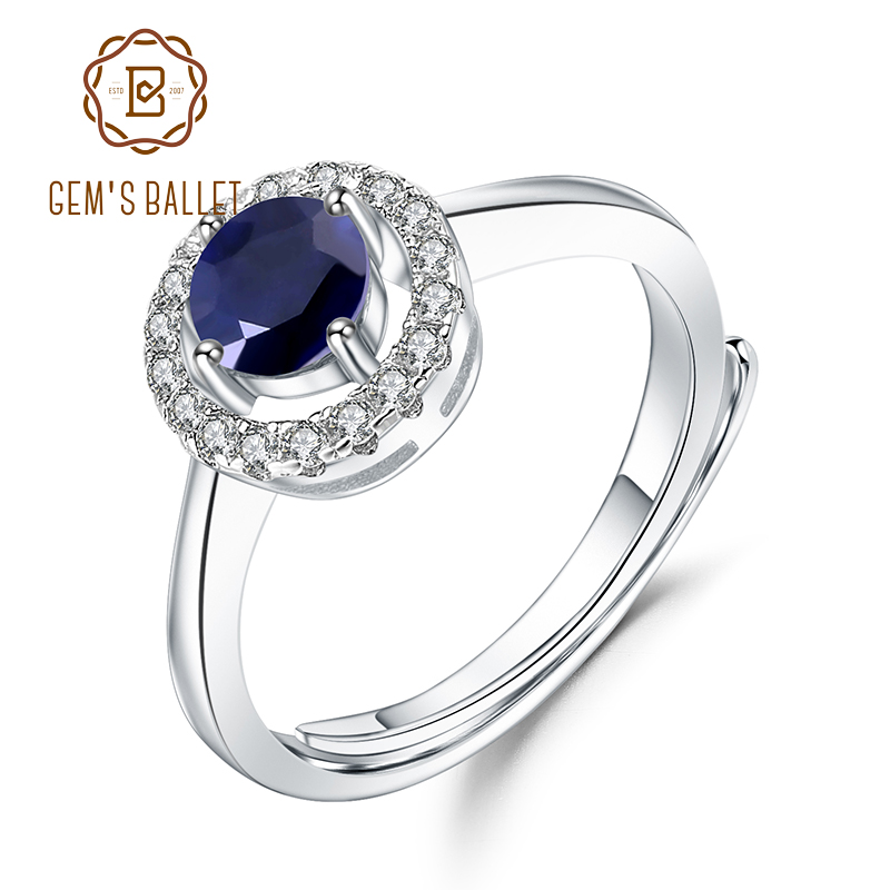 GEM'S BALLET 0.70Ct Natural Blue Sapphire Genuine 925 Sterling Silver Adjustable Rings For Women Wedding Luxury Fine Jewelry