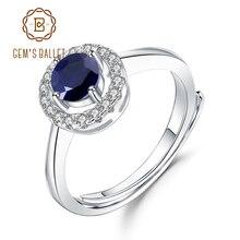 Gems Ballet 0.70Ct Natuurlijke Blauwe Saffier Echt 925 Sterling Zilver Verstelbare Ringen Voor Vrouwen Wedding Luxe Fijne Sieraden