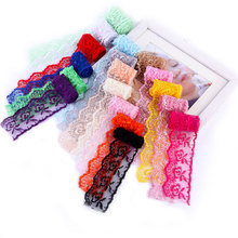 One Meter/Multi Colored Lace Trims Embroidery Fabric Ribbon By The Roll Wide High Quality Satin