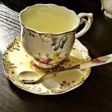 Yolife Gnade Becher Europa Porzellan Tasse und Sacuer Löffel Kaffeetasse Gesetzt Teetasse für Kaffee Geschenk 200 ml