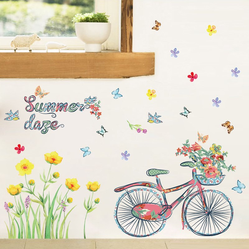 Romantic summer bike flowers butterfly decal home garden nursery style decor girl bedroom wall stickers removable vinyl ...