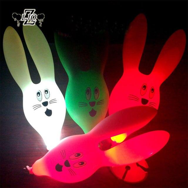 ZLJQ 10p Rabbit LED Balloon Lamp Ball Latex Luminous Balloons Decorated for Wedding Favors Birthday Decoration Supplies Kid Toy
