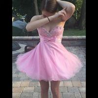 Милое розовое Тюлевое платье для выпускного вечера 2019 с открытой спиной, короткое платье для выпускного вечера, лиф сердечком, с кристаллам