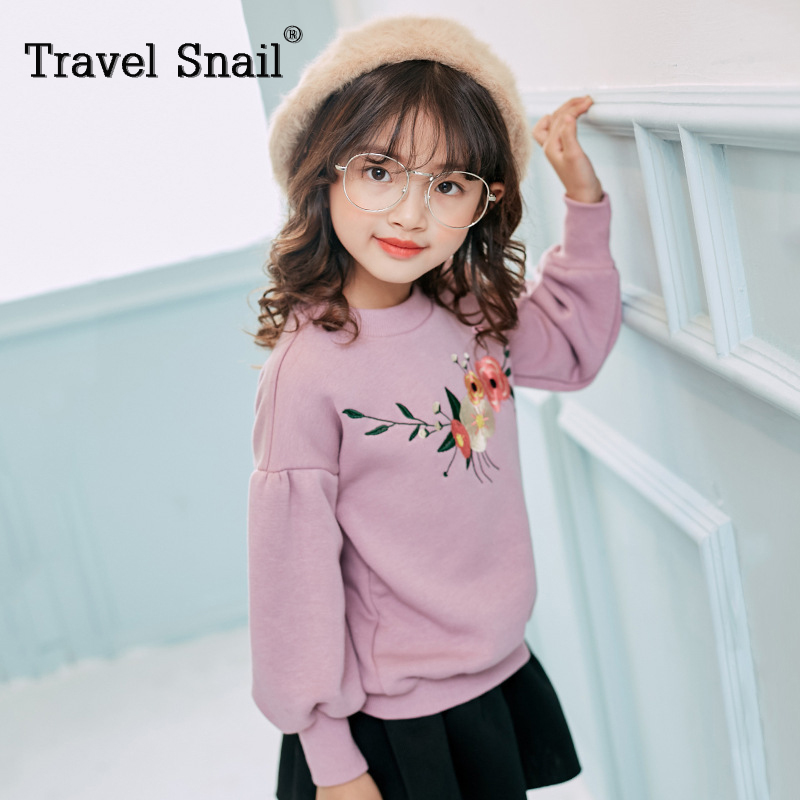 Travel snail 3-8 yrs toddler kids t-shirt for girls tracksuits costume warm girls t shirt baby sweatshirt 2017 winter New