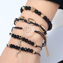 L&H New Arrival Beads Bracelets Set Women Shell Shaped Black Link Unique Rhinestone Moon Bangles For Gifts